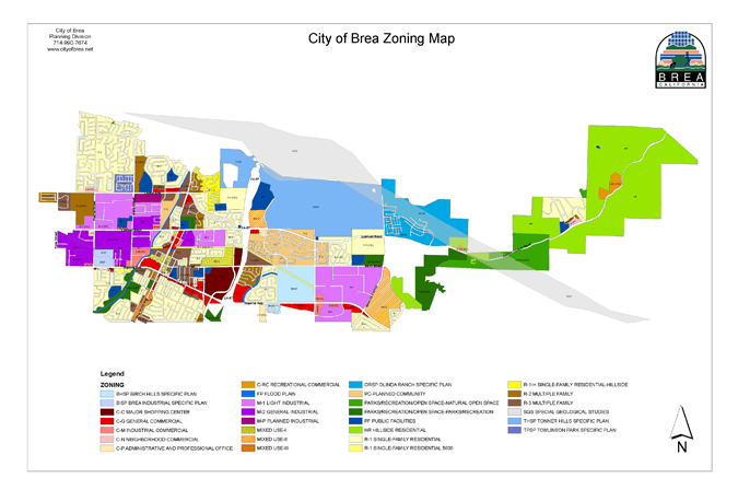 Zoning Map Code Brea CA Official Website - Where is brea california on the california map