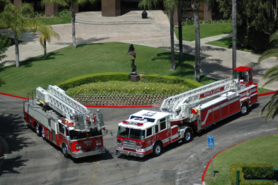 Fire trucks parked in street