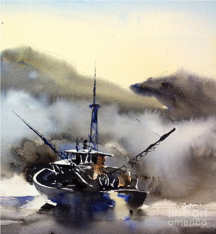 trawler in the mist