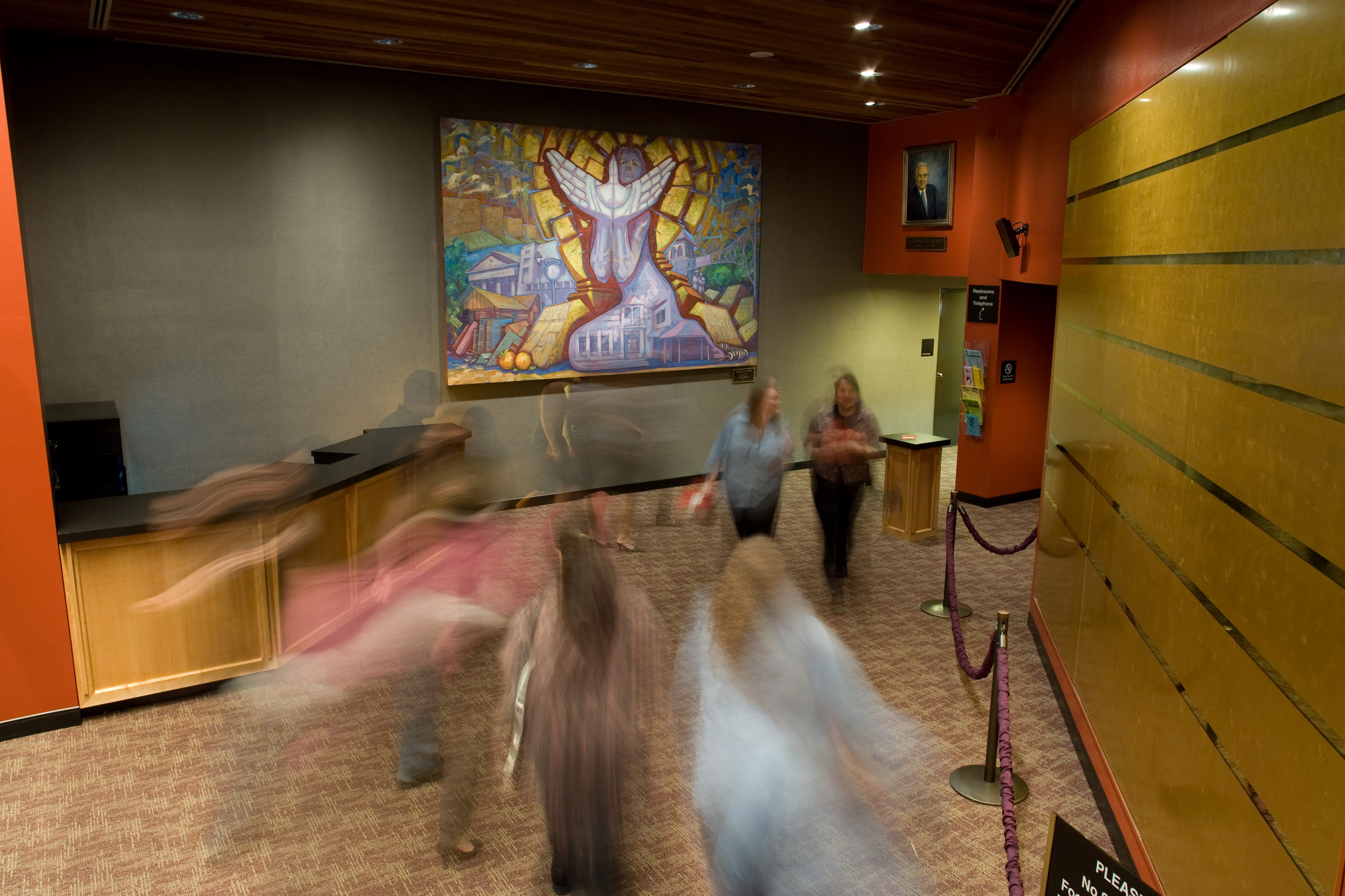 people move through lobby