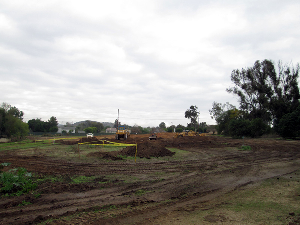 Photo showing rough grading on hole #3