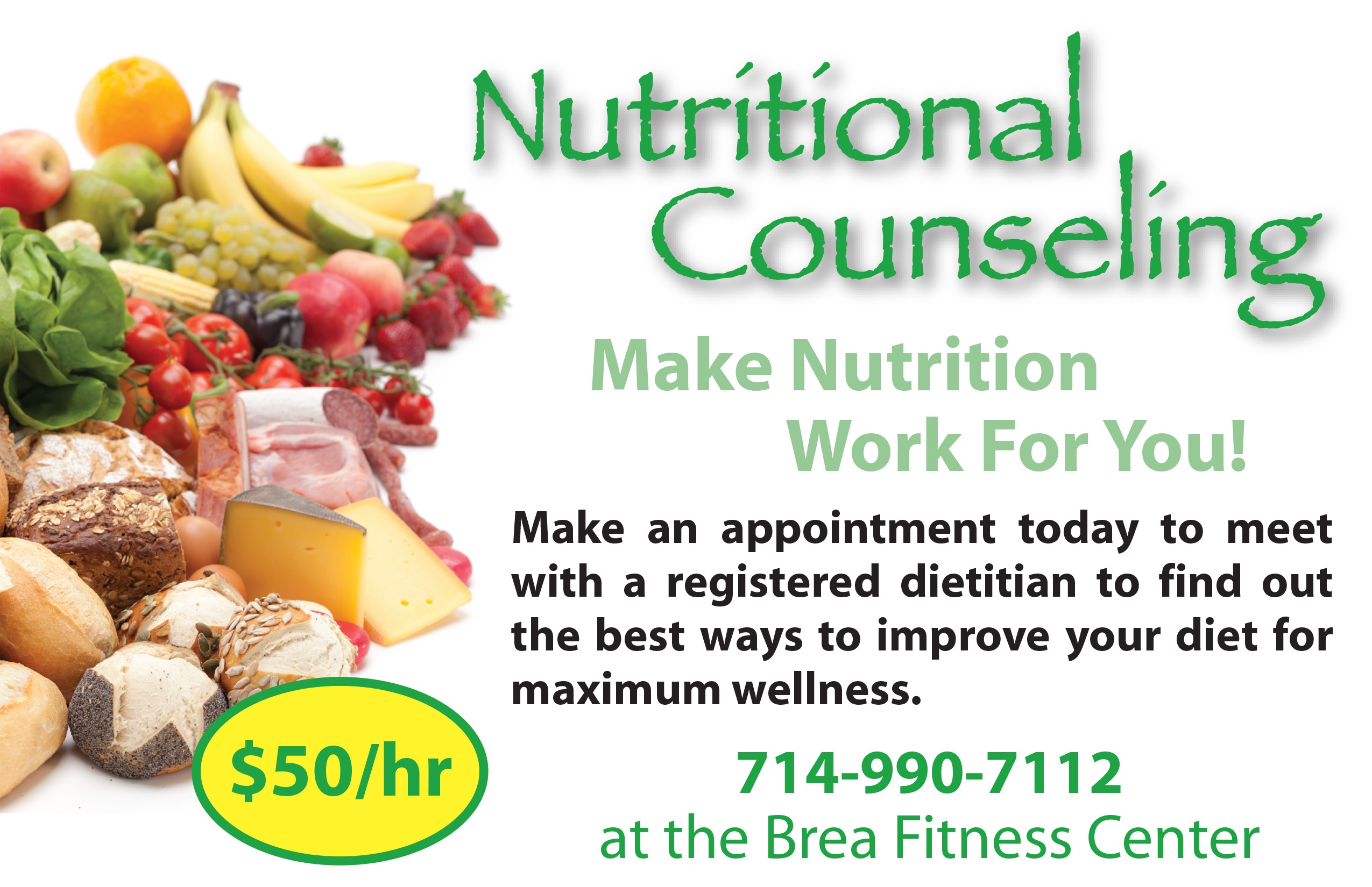 Nutrition Counseling available at the Brea Fitness Center