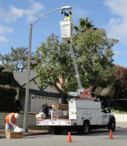 Crew working on street lights