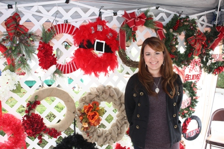 Vendor with homemade wreaths